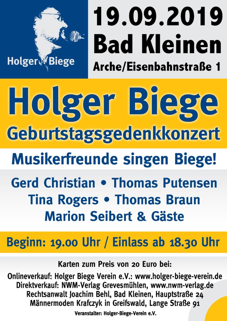 Plakat zum Geburtstagsgedenkkonzert für Holger Biege am 19.09.2019